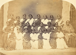 Group portrait of pupils of the London Mission Girls' Boarding School, Bangalore.